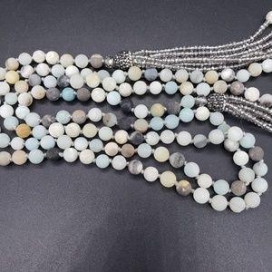 Amazonite & Crystal Artisan Lariat Necklace